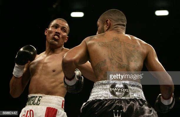 Jose Luis Castillo of Mexico throws a punch against Diego Chico Corrales during their Bout October 8 2005 at the Thomas Mack Center on the campus of...