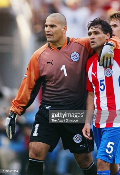 Jose Luis Chilavert consoles his team mate Celso Ayala after the FIFA World Cup Korea/Japan round of 16 match between Germany and Paraguay at the...