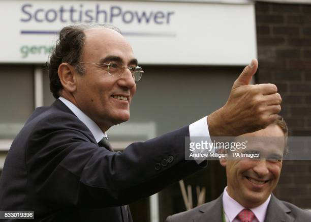 Jose Luis Del Valle chief executive of Scottish Power and Ignacio Galan chief executive and Chairman of Iberdrola during an official visit by First...