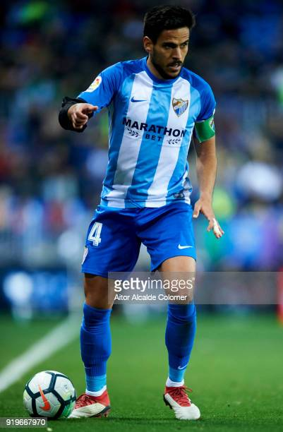 Jose Luis Garcia Recio of Malaga CF controls the ball during the La Liga match between Malaga CF and Valencia CF at Estadio La Rosaleda on February...