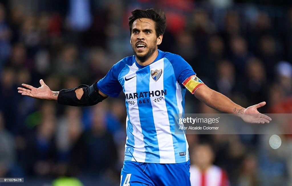 Jose Luis Garcia 'Recio' of Malaga CF reacts during the La Liga match between Malaga and Girona at Estadio La Rosaleda on January 27, 2018 in Malaga, .