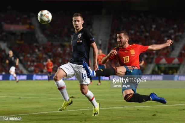 Jose Luis Gaya of Spain beats Marko Rog of Croatia during the UEFA Nations League A Group four match between Spain and Croatia at Estadio Manuel...