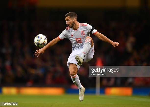 Jose Luis Gaya of Spain controls the ball during the International Friendly match between Wales and Spain on October 11 2018 in Cardiff United Kingdom