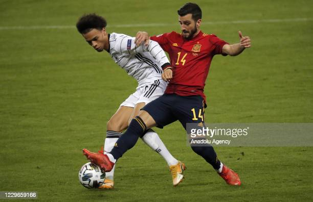 Jose Luis Gaya of Spain in action against Leroy Sane of Germany during the UEFA Nations League Group stage League A Group 4 soccer match between...