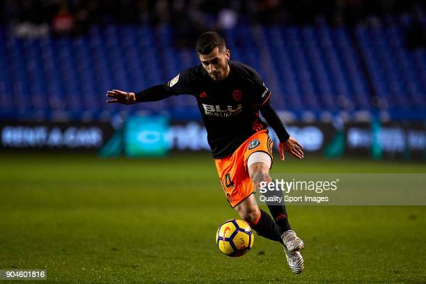 Jose Luis Gaya of Valencia CF in action during the La Liga match between Deportivo La Coruna and Valencia CF at Abanca Riazor Stadium on January 13...