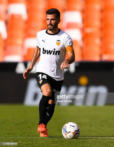 Jose Luis Gaya of Valencia CF runs with the ball during the La Liga Santander match between Valencia CF and SD Huesca at Estadio Mestalla on...