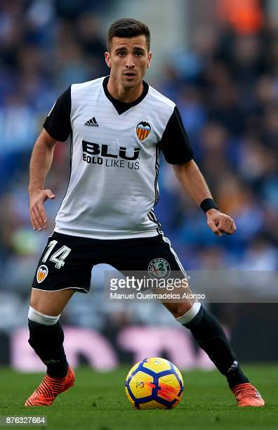 Jose Luis Gaya of Valencia in action during the La Liga match between Espanyol and Valencia at CornellaEl Prat stadium on November 19 2017 in...