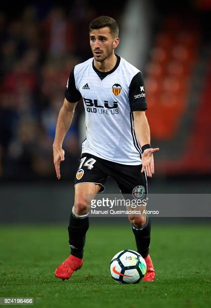 Jose Luis Gaya of Valencia in action during the La Liga match between Valencia CF and Real Sociedad at Mestalla Stadium on February 25 2018 in...