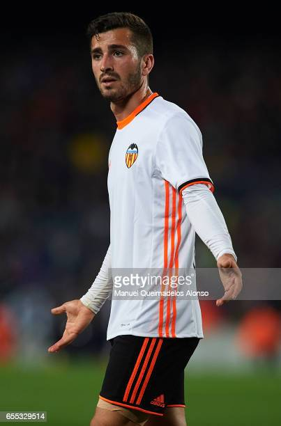 Jose Luis Gaya of Valencia reacts during the La Liga match between FC Barcelona and Valencia CF at Camp Nou Stadium on March 19 2017 in Barcelona...
