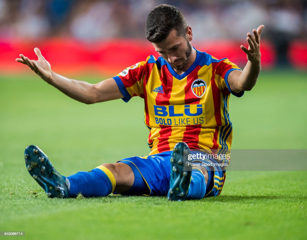 Jose Luis Gaya Pena of Valencia CF reacts during their La Liga 2017-18 match between Real Madrid and Valencia CF at the Estadio Santiago Bernabeu on 27 August 2017 in Madrid, Spain.