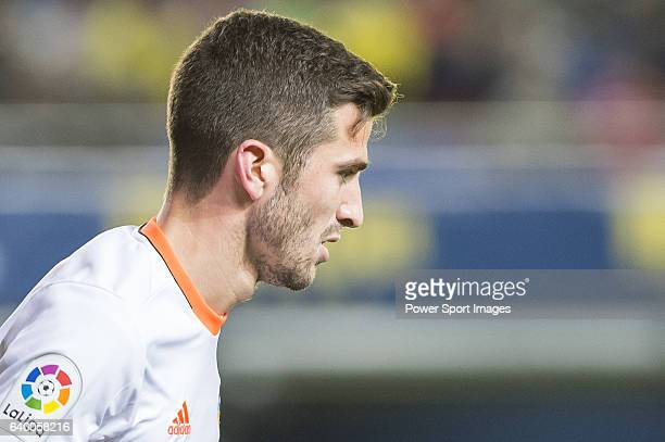 Jose Luis Gaya Pena of Valencia CF reacts during their La Liga match between Villarreal CF and Valencia CF at the Estadio de la Cerámica on 21...