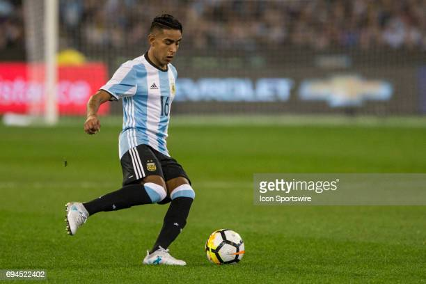 Jose Luis Gomez of the Argentinan National Football Team controls the ball during the International Friendly Match Between Brazilian National...
