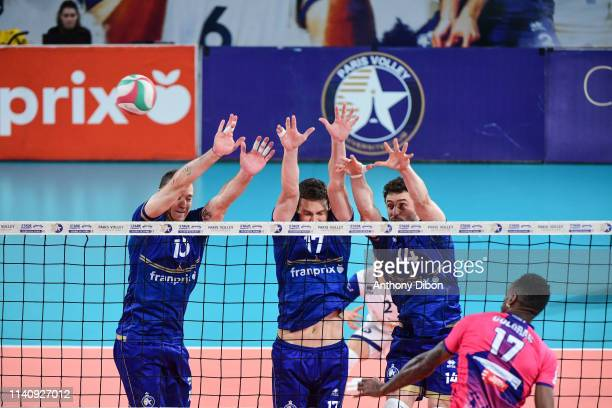 Jose Luis GOnzalez Alexandre Weyl and Julien Lavagne of Paris during the Ligue B match between Paris Volley and St Nazaire at Stade Charlety on May 3...