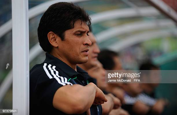 Jose Luis Gonzalez Head Coach of Mexico looks on during the FIFA U17 World Cup match between Mexico and Switzerland at the Teslim Balogun Stadium on...