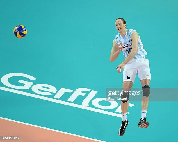 Jose Luis Gonzalez of Argentina serves the ball during the FIVB World Championships match between Poland and Argentina on September 7 2014 in Wroclaw...
