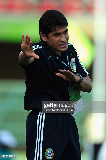 Jose Luis Gonzalez of Mexico gives instructions during the FIFA U17 World Cup match between Mexico and Switzerland at the Teslim Balogun Stadium on...