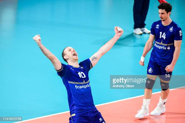 Jose Luis Gonzalez of Paris celebrates during the Ligue B match between Paris Volley and St Nazaire at Stade Charlety on May 3 2019 in Paris France