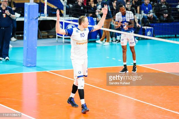 Jose Luis Gonzalez of Paris celebrates during the Ligue B match between Paris Volley and St Nazaire at Stade Charlety on May 4 2019 in Paris France