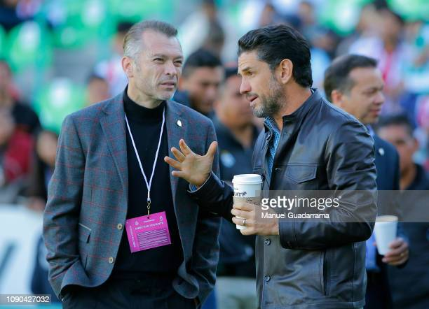 Jose Luis Higuera and Alejandro Irarragorri talk prior the 4th round match between Santos Laguna and Chivas as part of the Torneo Clausura 2019 Liga...