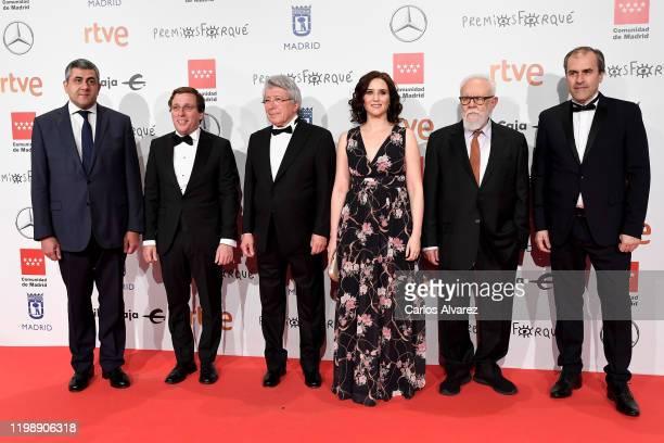 Jose Luis Martines Almeida Enrique Cerezo Isabel Diaz Ayuso Gonzalo Suarez attend the red carpet during 'Jose Maria Forque Awards' 2020 at Ifema on...