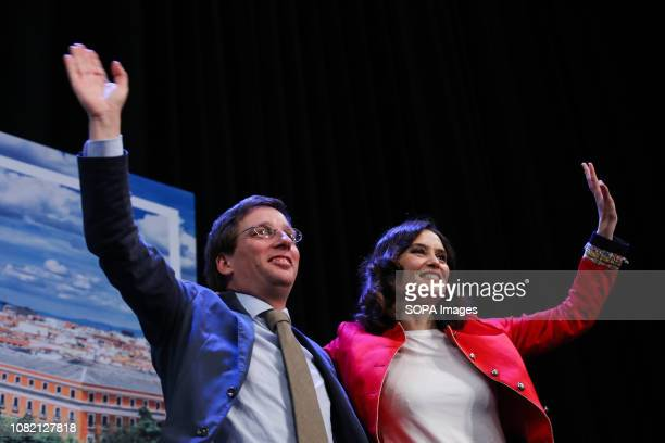 Jose Luis MartinesAlmeida Candidate for President of the Community of Madrid and Isabel Diaz Ayuso Candidate for Mayor of Madrid City Council are...