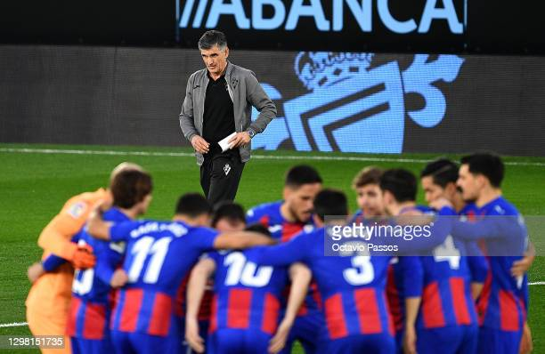 Jose Luis Mendilibar, Head Coach of SD Eibar looks on ahead of the La Liga Santander match between RC Celta and SD Eibar at Abanca-Balaídos on...