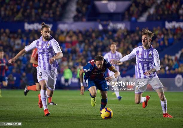 Jose Luis Morales, forward of Levante UD with the balll during the La Liga match between Levante UD and Real Valladolid at Ciutat de Valencia stadium...