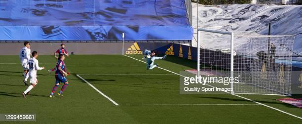 Jose Luis Morales Levante UD scores his team's first goal during the La Liga Santander match between Real Madrid and Levante UD at Estadio Alfredo Di...