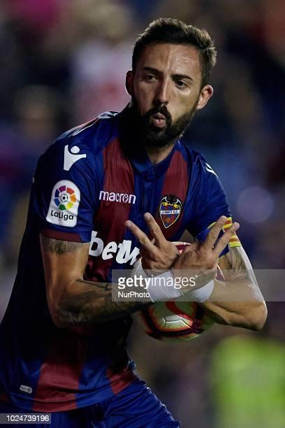 Jose Luis Morales Nogales of Levante UD celebrates a goal during the La Liga match between Levante and Celta de Vigo at Ciutat de Valencia on August...