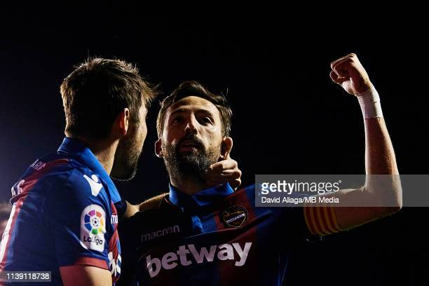Jose Luis Morales Nogales of Levante UD celebrates his sides third goal with his teammate Jorge Andujar Moreno Coke during the La Liga match between...