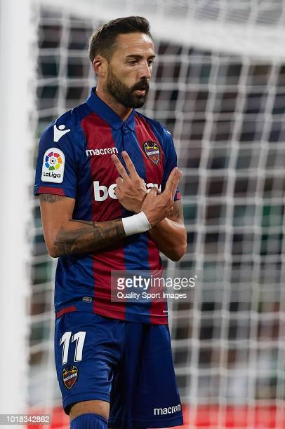 Jose Luis Morales of Levante celebrates after scoring his side second goal during the La Liga match between Real Betis Balompie and Levante UD at...