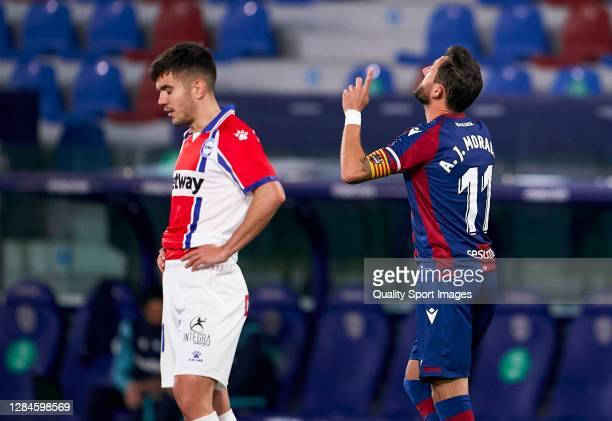 Jose Luis Morales of Levante celebrates after scoring his team's first goal during the La Liga Santander match between Levante UD and Deportivo...