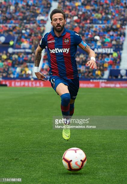 Jose Luis Morales of Levante runs with the ball during the La Liga match between Levante UD and RCD Espanyol at Ciutat de Valencia on April 21 2019...