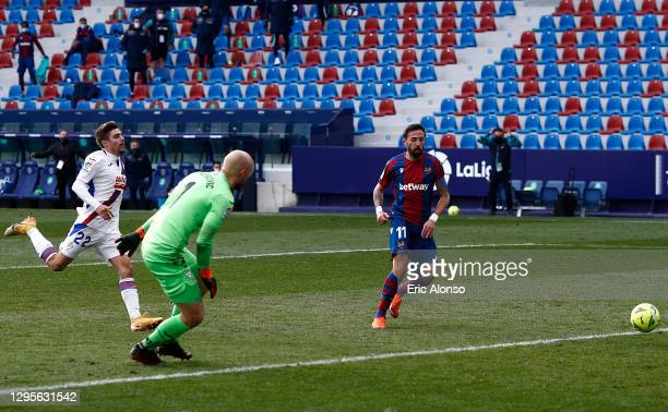 Jose Luis Morales of Levante scores their side's second goal past Marko Dmitrovic of SD Eibar during the La Liga Santander match between Levante UD...