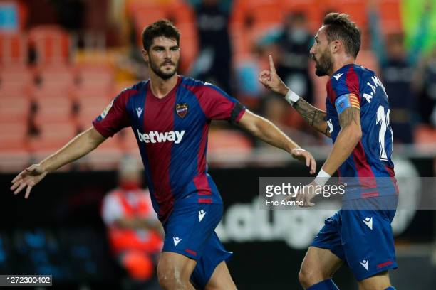 Jose Luis Morales of Levante UD celebrates after scoring his team's second goal during the La Liga match between Valencia CF and Levante UD at...