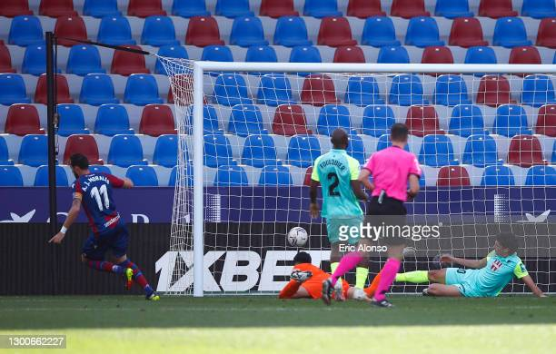 Jose Luis Morales of Levante UD celebrates after scoring his team's first goal during the La Liga Santander match between Levante UD and Granada CF...