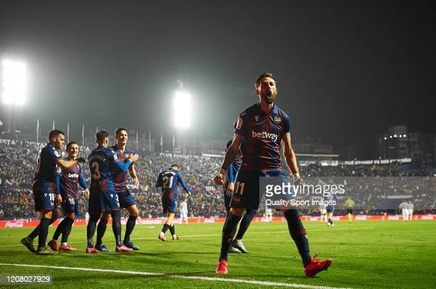 Jose Luis Morales of Levante UD celebrates scoring his team's goal during the Liga match between Levante UD and Real Madrid CF at Ciutat de Valencia...