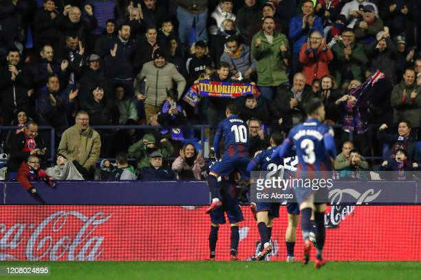 Jose Luis Morales of Levante UD celebrates with his team mates after scoring his team's first goal during the La Liga match between Levante UD and...