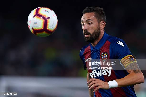 Jose Luis Morales of Levante UD in action during the La Liga match between Real Betis Balompie and Levante UD at Estadio Benito Villamarin on August...