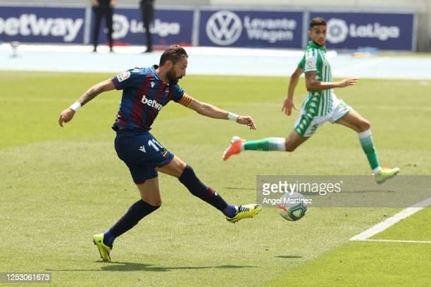 Jose Luis Morales of Levante UD scores his team's third goal during the La Liga match between Levante UD and Real Betis Balompie at Estadi Olimpic...