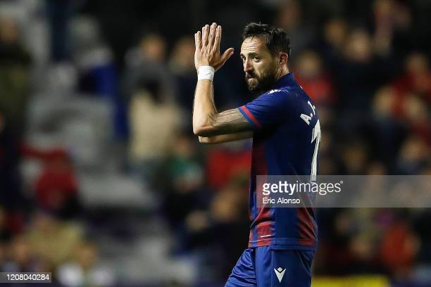 Jose Luis Morales of Levante UD waves the fans during the Liga match between Levante UD and Real Madrid CF at Ciutat de Valencia on February 22 2020...