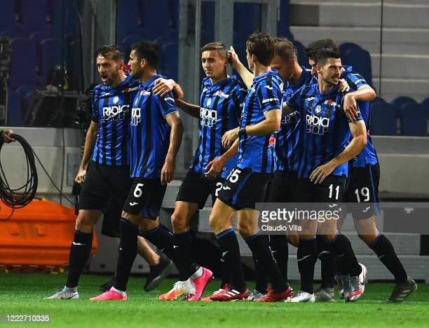 Jose Luis Palomino of Atalanta celebrates after scoring the third goal during the Serie A match between Atalanta BC and SS Lazio at Gewiss Stadium on...