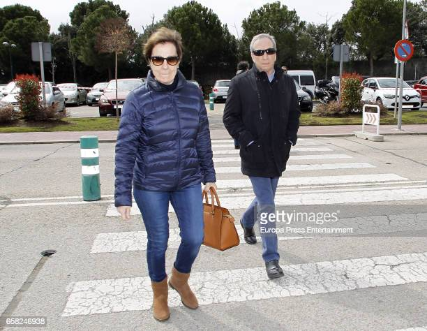 Jose Luis Perales and Manuela Vargas attend the funeral chapel for Paloma Gomez Borrero on March 25 2017 in Madrid Spain