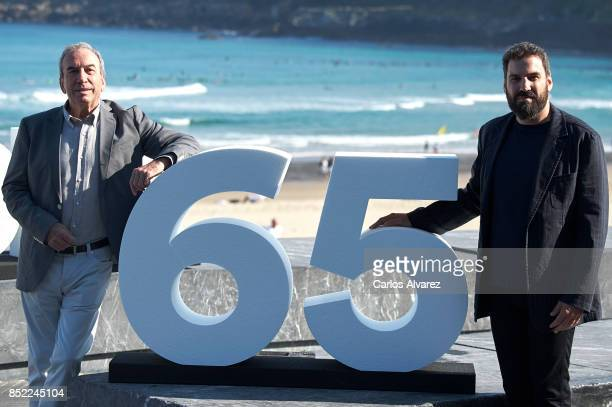 Jose Luis Perales and Pablo Perales attend 'El Autor' photocall during 65th San Sebastian Film Festival on September 23 2017 in San Sebastian Spain