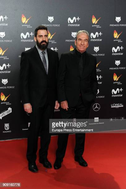 Jose Luis Perales and Pablo Perales attend Feroz Awards 2018 at Magarinos Complex on January 22 2018 in Madrid Spain