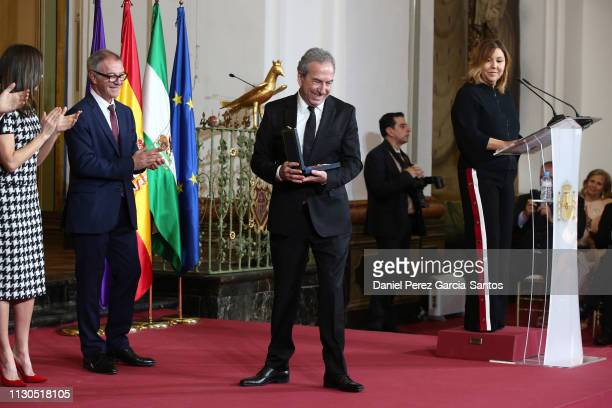 Jose Luis Perales receives the 'Bellas Artes' Golden Medal Awards at the Palace of Merced from King Felipe VI of Spain and Queen Letizia of Spain on...
