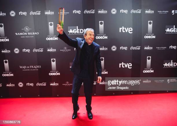 Jose Luis Perales winner of The Honour Odeon award poses in the trophy room during the 1st Odeon Awards at Teatro Real on January 20 2020 in Madrid...