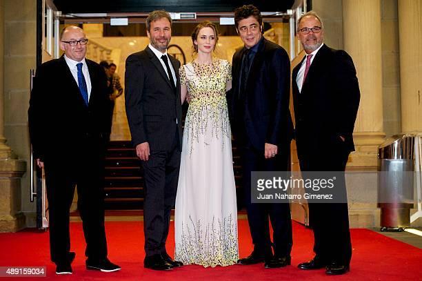 Jose Luis Rebordinos Denis Villenueve Emily Blunt and Edward McDonnell attend 'Sicario' premiere during 63rd San Sebastian Film Festival at Victoria...