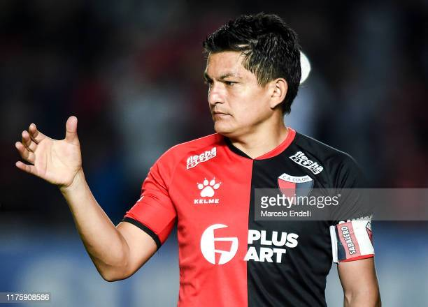 Jose Luis Rodriguez of Colon gestures before the first leg semifinal of Copa CONMEBOL Sudamericana 2019 between Colón and Atlético MG at Brigadier...