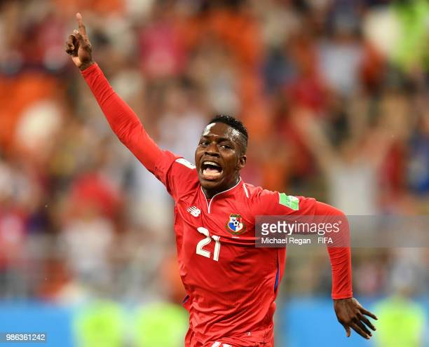 Jose Luis Rodriguez of Panama celebrates after scoring his team's first goal during the 2018 FIFA World Cup Russia group G match between Panama and...